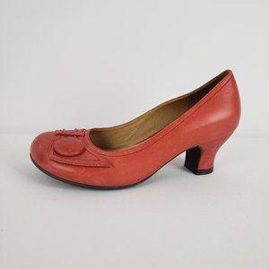 Miz Mooz Red Leather Kitten Heel Shoes Size 6
